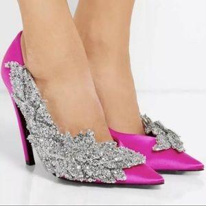 Balenciaga Pink Satin Broderie Heels Size 41